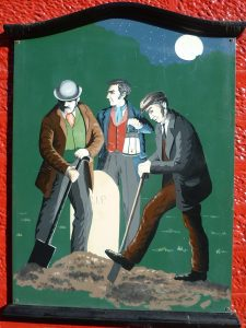 Body snatchers at work. A painting on the wall of a public house in Penicuik, Scotland