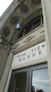 photo shows the front door to Hill View Manor