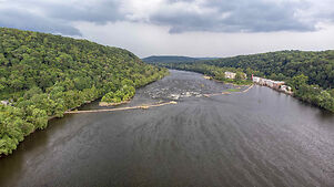 photo shows a birds eye view of the delaware river