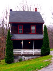 photo shows the hex house, with black wood and red trim, with two large vultures sitting on the roof.
